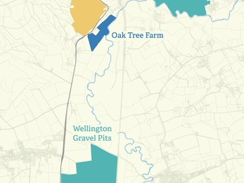 Map showing Bodenham Lake, Oak Tree Farm and Wellington Gravel Pits
