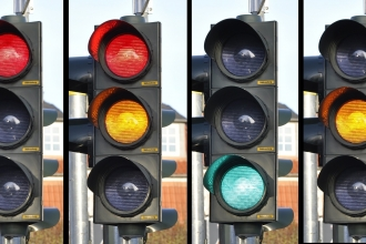 Row of traffic lights