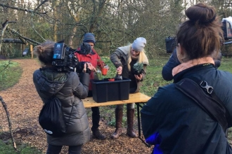 Filming BBC Countryfile at the Forest Garden, Queenswood