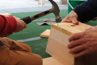 Nest box being built - an adult's hands holding the wooden box, a child's hands hammering in a nail.