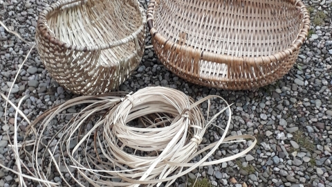 Handmade hazel baskets displayed