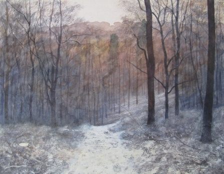Painting of a woodland path in snow