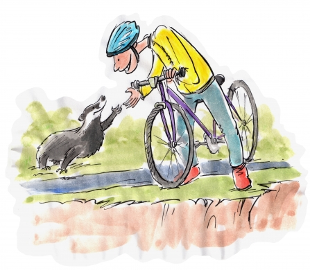 Illustration of cyclist & badger shaking hands